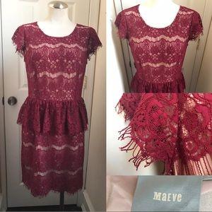 MaEve Anthro eyelash lace dress maroon
